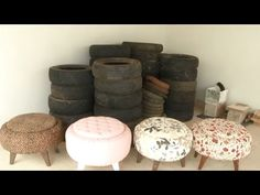 Turn a tire into a cozy DIY ottoman with this furniture hack! Diy Home Crafts, Easy Home Decor, Handmade Home Decor, Diy Room Decor, Diy Para A Casa, Diy Casa, Tire Furniture, Diy Furniture Videos, Repurposed Furniture
