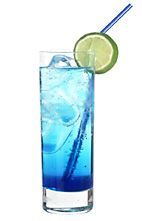 smurf | 1 oz Strawberry Vodka      2/3 oz Blue Curacao      1 dash Lime Juice      Lemon-Lime Soda (Sprite or 7-Up)      Garnish: Lime Slice      Glass: Highball Glass    Smurf Instructions:        Fill a highball glass with ice.      Add the strawberry vodka, blue curacao and lime juice.      Fill with Sprite or 7-Up an garnish with a slice of lime.