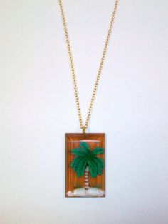 Vintage Plastic Palm Tree Necklace DEADSTOCK by SHOPHULLABALOO, $8.99
