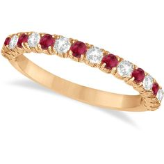 Allurez Ruby & Diamond Wedding Band Anniversary Ring in 14k Rose Gold... ($885) ❤ liked on Polyvore featuring jewelry, rings, red diamond ring, diamond anniversary rings, diamond rings, ruby diamond ring and red ruby ring