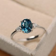 Blue topaz ring oval gemstone ring sterling silver by LuoJewelry