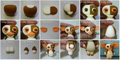 Sugar Modelling Tutorial - Gizmo from Gremlins Polymer Clay Animals, Fimo Clay, Polymer Clay Charms, Cake Topper Tutorial, Fondant Tutorial, Fondant Bow, Fondant Flowers, Fondant Cakes, Gremlins