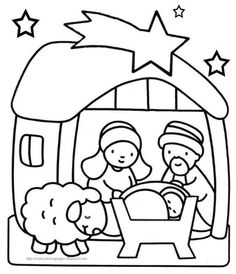Xmas Coloring Baby Jesus Nativity Pages