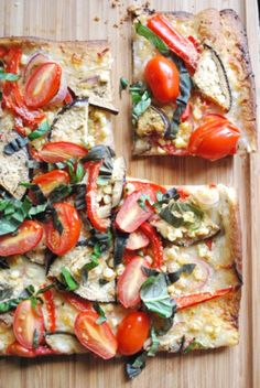 Farmer's Market Vegetable Pizza with Eggplant, Pepper, Cherry Tomatoes, Basil and Corn