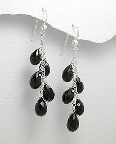 Vines of Jewels - Sterling Silver Black Tear Drops Earrings, $16.00 (http://www.vinesofjewels.com/sterling-silver-black-tear-drops-earrings/)