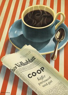 DONALD BRUN (1909-1999) CO - OP KAFFEE. 1943.  35 1/2x25 1/4 inches, Polygraphische Gesellschaft, Laupen-Bern.  A prominent poster artist from Basel, Brun's style was ever-changing. He began his career with images that conformed to Niklaus Stoecklin's Neue Sachlichkeit (New Reality). His style then became more humorous, much in the vein of Herbert Leupin, his prolific counterpart.x