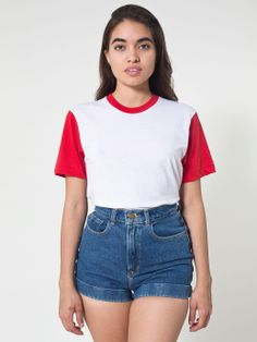 New! Unisex Two Tone Poly-Cotton Short Sleeve Crew Neck #AmericanApparel #basics