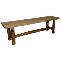 Rustic Aspen Log Bench (Bench), Tan (Wood)