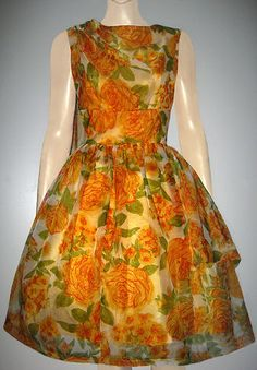 Vintage 1950s Lydia of London Rose Organza FullSkirted Model Dress UK 8 / UK 10 | eBay