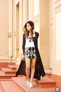 FashionCoolture - 07.07.2015 look du jour Lotus black and white ethnic skirt long cardigan (1)