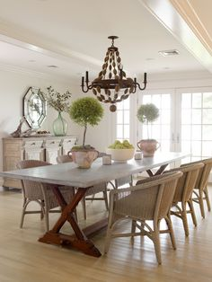 Orrick and Company - dining rooms - BoBo Intriguing Objects Ball Chandelier, trestle, dining table, wicker, chairs, topiaries, French doors, octagon, mirror, recycled, glass, bottle, vase, dining chairs, woven dining chairs, wicker dining chairs, beaded wood chandelier,