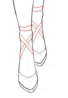 Cómo dibujar las cintas de las zaatillas de Ballet o de cualquier otro zapato