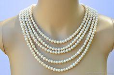 Michelle Necklace  5 strand cascasding pearl by BoldRocksJewelry, $54.50