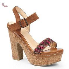 cd25cdb018ff Ideal Shoes - Sandales à plateforme en liège avec lanière tressée et bride  effet daim Natassia