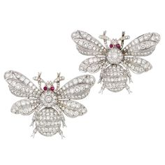 Pair of White Gold, Diamond and Cabochon Ruby Bee Pins