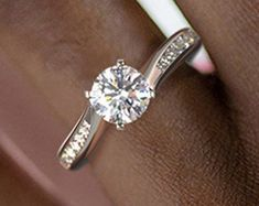Elegant Affordable Custom Moissanite by SolitaireRingJeweler Wedding Bands, Wedding Ring, Solitaire Ring, White Gold Rings, Moissanite, Engagement Rings, Crystals, Elegant, Diamond