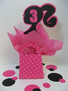 Barbie pink white polka dot purse decoration by missdaisyw on Etsy, $7.00 Available with zebra or leopard print.  Barbie and tissue paper colors can be changed to match your decor.