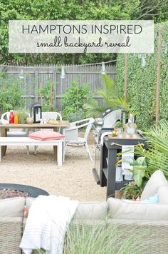 Hamptons Backyard Reveal-Pea Gravel Patio, DIY Outdoor Bar, String Lights, Dining, Herb Garden, Fire Pit and A Cozy Comfy Sectional, All From Lowe's.