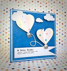 Kartka ślubna scrapbooking z balonami. Wedding card with hot air baloons.