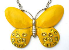 """Yellow Butterfly Pendant Necklace with Rhinestones Vintage Figural Jewelry 21""""  This is a vintage figural enameled yellow butterfly necklace with yellow rhinestones.  The pendant measures 3 5/8"""" x 2 5/8"""" and the necklace has a total length of 21 inches which includes the 3 inch extension.  It is in excellent condition, please see pictures. Jewelry & Watches, Vintage & Antique Jewelry, Costume"""