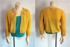 Sunshine Yellow Sweater. #vintage #Rockabilly, #50s, #60s #yellow #etsy. $30.00