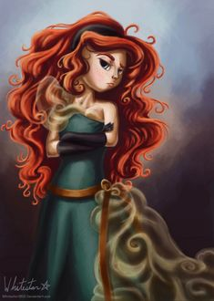 So, yeah, channeling my inner Elusive and decided to finish my Designer Merida concept. :> Sadly, I can't draw translucent cloth, and the fabric at h. A Noble Maiden Fair Disney Fan Art, Disney Love, Disney Magic, Disney Stuff, Disney And Dreamworks, Disney Pixar, Walt Disney, Ever After High, Aladdin
