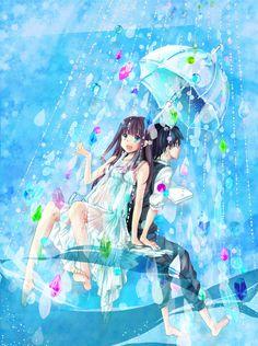 anime girl and anime boy under umbrella with rain crystals