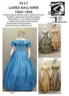 - Ladies Civil War Era Ball Gown Dress Sewing Pattern by Laughing Moon Victorian Ball Gowns, Victorian Corset, Victorian Era, Gown Pattern, Dress Patterns, Sewing Patterns, Costume Patterns, Clothing Patterns, Costume Ideas