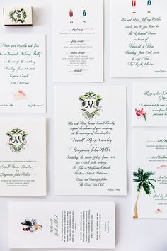 We wanted our invitations to set the tone for the week ahead and reflect the colorful spirit of Harbour Island. My cousin and her husband created our beautiful watercolor crest, and from that, came a series of paintings which we incorporated in all of our printed materials throughout the weekend.