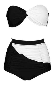 28ea9374146 Black  amp  White  Halter Twisted Bandeau High Waist  Bikini Set - Cobunny