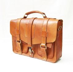 Retro Strap Leather Briefcase Messenger Bag by CoruscateLeatherBag, $185.00