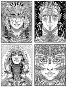 Magical Beauties Book 1 Digital Download 24 Fantasy Coloring Pages Adult Printable