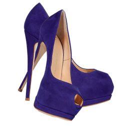Giuseppe Zanotti Sapphire Blue Suede Platform Peep Toe pumps
