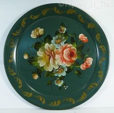 Antique Green Metal Tole Ware Tray Hand Painted Flowers