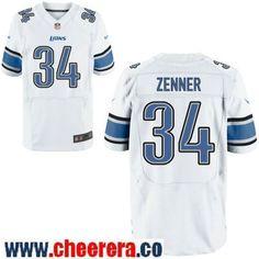 3fdc98a4b Men s Detroit Lions  34 Zach Zenner White Road Stitched NFL Nike Elite  Jersey