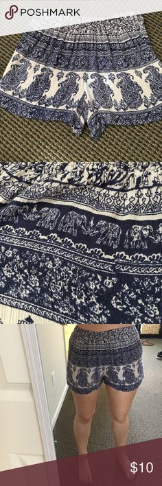 High waisted patterned shorts Barely worn.  Navy and tan elephant/paisley patterned shorts. Stretchy waistband Angie Shorts