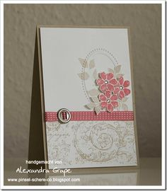 a pretty neutral card! SU's vintage roller wheel in crumb cake, primrose petals ribbon and ink, frame embossing folder, secret garden flowers & leaves