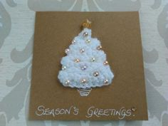 Card: Crocheted Christmas Tree, Pearl Gold Beads, Glitter Star, Natural Card £2.50