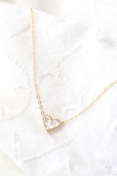 Tiny Heart Necklace Cubic Zirconia Necklace