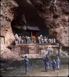 KIDS AND A CAVE SHRINE in OLD JAPAN by Okinawa Soba, via Flickr
