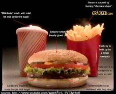 Why your food never looks like the ad - toothpicks, cardboard, chemicals, dyes.  Thanks to Cracked.com