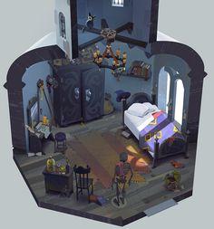 room, Sergei Ryzhov : Concept art of the apprentice magician room. That's my personal work. Bg Design, Prop Design, Game Design, Environment Concept Art, Environment Design, Isometric Art, Fantasy House, Fantasy Rooms, Interior Concept