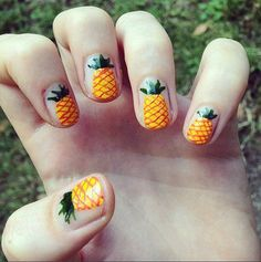 Sizzling Summer Nail Art That's Sure to Make a Splash: Summer is heating up fast, and while you may have switched to your warm-weather hair and makeup routine, don't let your nails be the piece of the beauty puzzle you forget. Love Nails, How To Do Nails, Fun Nails, Pretty Nails, Pineapple Nails, Nail Art Instagram, Image Nails, Eye Makeup, Uñas Fashion