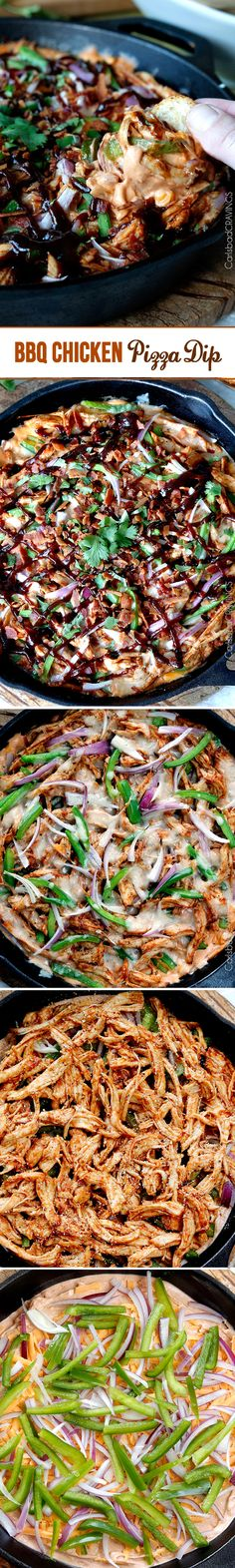 Perfect for New Years! BBQ Chicken Pizza Dip - cheesy BBQ cream cheese with layers of BBQ chicken, red onions, bell peppers and red onion - all the flavors of the pizza but in a dip!