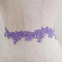 Jeweled belt, Floral lace bridal belt, Purple belt, Wedding dress belt, Beaded belt, Rhinestone belt, Crystal belt, Jeweled sash, Bling sash by MagicSashAccessories on Etsy