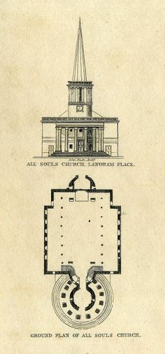 All Souls church, Langham Place from 1834 map of St. Marylebone © Copyright MAPCO 2007