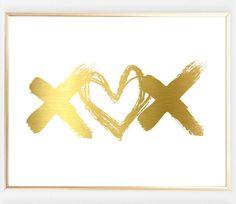 Real Gold Foil XOX Print #print https://bymaria.com/