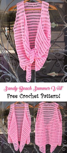 "Free crochet pattern. The ""Sandy Beach Summer Vest"" is a multi-shape crochet vest that you can now find for free. #crochet #crochetpattern #freepattern #pattern #vest #fashion #diy #blog"