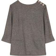 Gerard Darel Bambon Blouse, Black/Beige (¥12,100) ❤ liked on Polyvore featuring tops, blouses, print top, three quarter sleeve tops, flare tops, 3/4 length sleeve tops and beige top