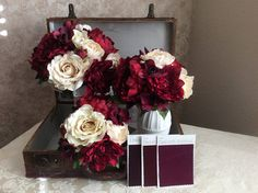 19 Piece Wedding flower package in ivory and burgundy